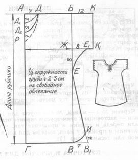 Основа выкройки мужской футболки 187
