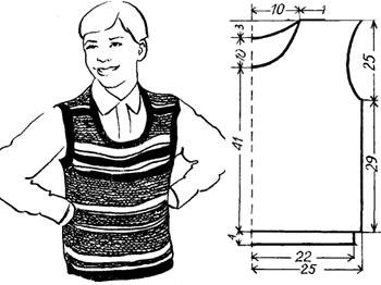 Вязание жилета для подростка с контрастными полосами